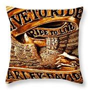 Golden Harley Davidson Logo Throw Pillow