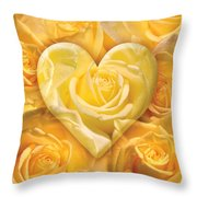 Golden Heart Of Roses Throw Pillow