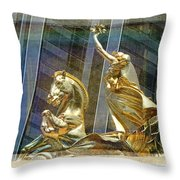 Golden Horse In The City Throw Pillow