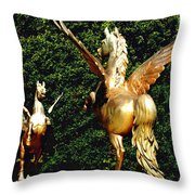 Golden Horses Throw Pillow