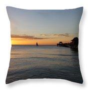 Golden Hour At Naples Pier Throw Pillow