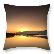 Golden Hour At The River Throw Pillow