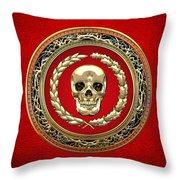 Golden Human Skull On Red   Throw Pillow