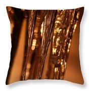 Golden Ice Throw Pillow