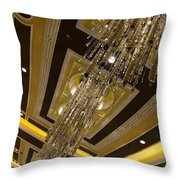 Golden Jewels And Gems - Sparkling Crystal Chandeliers  Throw Pillow