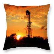 Golden Kansas Sunset With Windmill Throw Pillow by Robert D  Brozek