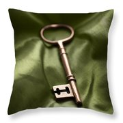 Golden Key On Green Silk  Throw Pillow