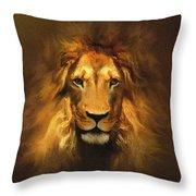 Golden King Lion Throw Pillow