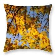 Golden Leaf Cascade Throw Pillow