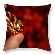 Golden Leaves Throw Pillow by Amy Cicconi