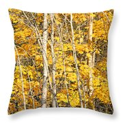 Golden Leaves In Autumn Abstract Throw Pillow