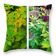 Golden Leaves To Purple Seeds Throw Pillow