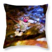 Golden Light Hummingbird Flight Throw Pillow