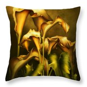 Golden Lilies By Night Throw Pillow
