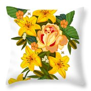 Golden Lily Flowers With Golden Rose Throw Pillow