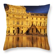 Golden Louvre - Paris Throw Pillow