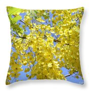 Golden Medallion Shower Tree Throw Pillow