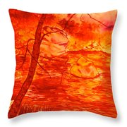 Golden Mountain Lake Morning  Throw Pillow