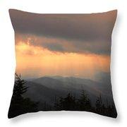 Golden Mountain Rays Throw Pillow