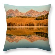 Golden Mountains  Reflection Throw Pillow