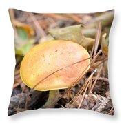 Golden Mushroom Throw Pillow