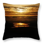 Golden Norse Fjordland Sunset Throw Pillow by David Broome