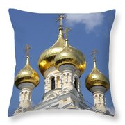 Golden Onion Domes - Church Yalta Throw Pillow