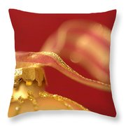 Golden Ornament With Striped Ribbon Throw Pillow