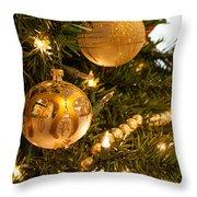 Golden Ornaments Throw Pillow