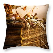 Golden Pages Falling Flowers Throw Pillow
