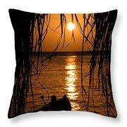 Golden Palapa Throw Pillow