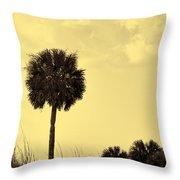Golden Palm Silhouette Throw Pillow
