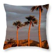 Golden Palm Trees Throw Pillow