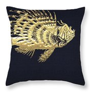 Golden Parrot Fish On Charcoal Black Throw Pillow