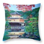 Golden Pavillion In Kyoto Throw Pillow