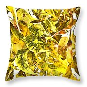 Golden Pecan Leaves Abstract Throw Pillow
