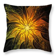 Golden Poinsettia Throw Pillow