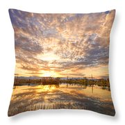 Golden Ponds Scenic Sunset Reflections 2 Throw Pillow