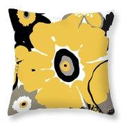Golden Pop Flower Throw Pillow
