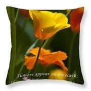 Golden Poppy Floral  Bible Verse Photography Throw Pillow