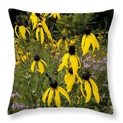 Golden Prairie Coneflower Watercolor Effect Throw Pillow