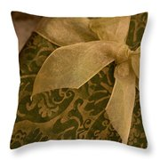 Golden Present Throw Pillow