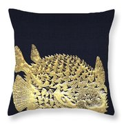 Golden Puffer Fish On Charcoal Black Throw Pillow