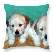 Golden Puppies Throw Pillow by Michelle Calkins
