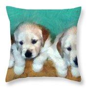 Golden Puppies Throw Pillow