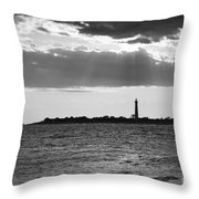 Golden Rays At Cape May Bw Throw Pillow
