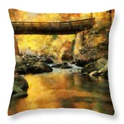 Golden Reflection Autumn Bridge Throw Pillow