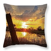 Golden Reflection With A Fence Throw Pillow