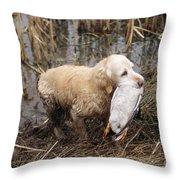 Golden Retriever Dog With Mallard Duck Throw Pillow