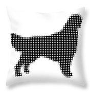 Golden Retriever - Dot Portrait Throw Pillow